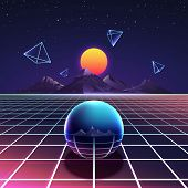 Retro vibrant futuristic synth night vector poster in nostalgia 80s style with mountains, abstract pyramids and metal sphere. Cyberspace digital and illumination grid glowing surface illustration poster