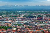 Aerial view of Munich center  from Olympiaturm (Olympic Tower). Munich, Bavaria, Germany poster