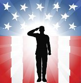 A patriotic soldier saluting in front of an American background poster