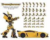 animation of the transformer character from the anthropomorph to the car. Sprite for the game poster