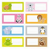 Back to school stickers with cute animals, vector illustration. poster