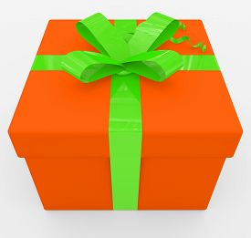 Gift Box - Orange Box, Green Ribbon - Isolated On White