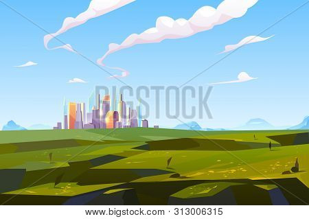 Futuristic City In Green Valley Among Mountains, Modern Megapolis With Glass Buildings Stand On Beau
