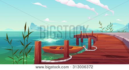 Wooden Pier And Boat On River Natural Landscape, Wharf With Ropes And Reed Growing In Water On Pictu