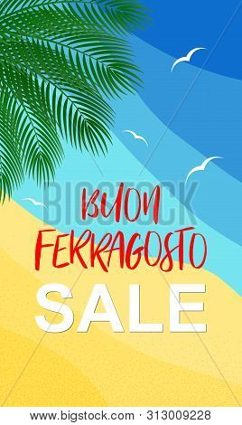 Vector Illustration For Italian August Holiday Buon Ferragosto Or Catholic Feast Of Assumption Of Ma