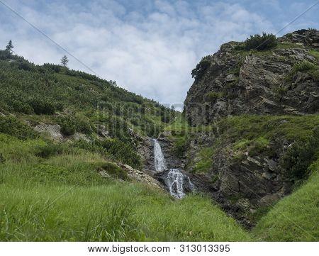 Sarafiovy Vodopad Waterfall In Beautiful Summer Mountain Landscape Near Ziarska Chata In Ziarska Dol