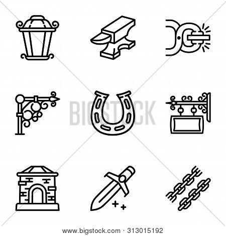 Blacksmith Icon Set. Outline Set Of 9 Blacksmith Vector Icons For Web Design Isolated On White Backg