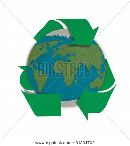 World With Recycled Sign Made By Grunge Recycle Paper, Save The World Concept.