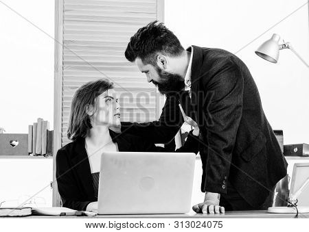 Flirting With Coworker. Woman Flirting With Guy Coworker. Woman Attractive Lady With Man Colleague.
