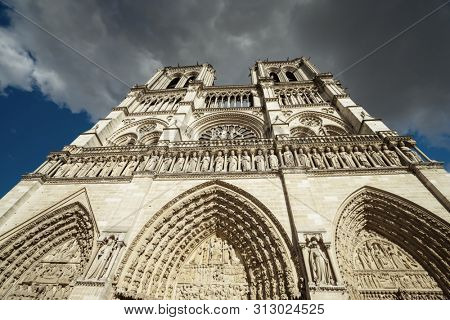 Notre Dame facade in Paris, France