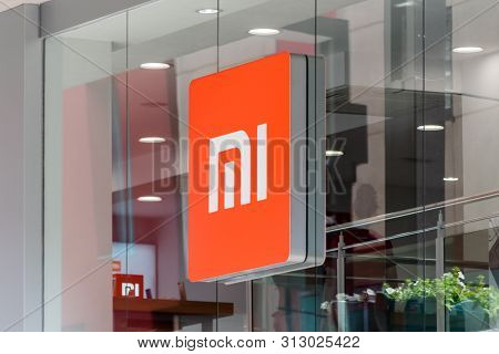 Andorra La Vella, Andorra - June 3, 2019: Logo Of Xiaomi On Retail Store In Andorra. Xiaomi Is A Chi