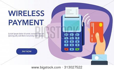 Vector Payment Machine And Credit Card Banner. Pos Terminal Confirms The Payment By Debit Credit Car