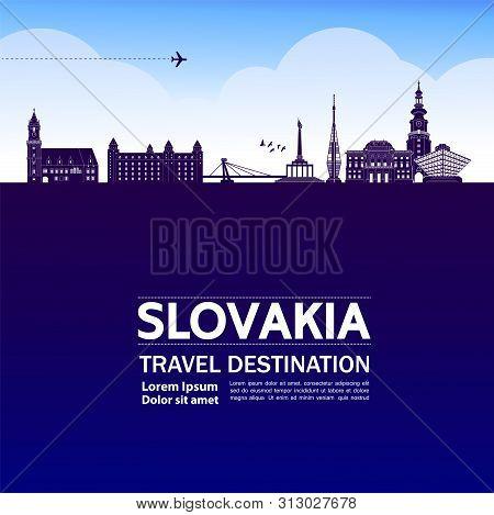 Slovakia Blue Travel Destination Vector Illustration.