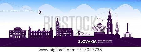 Ukrain Deep Purple Travel Destination Vector.