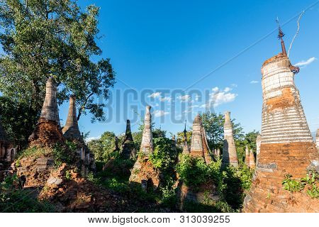 Horizontal Picture Of Nature With Different  Architecture Stupas At Indein Temple, Landmark Of Inle