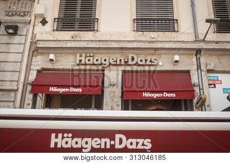 Lyon, France - July 19, 2019: Haagen Dazs Logo In Front Of Their Local Shop And Restaurant In Lyon.