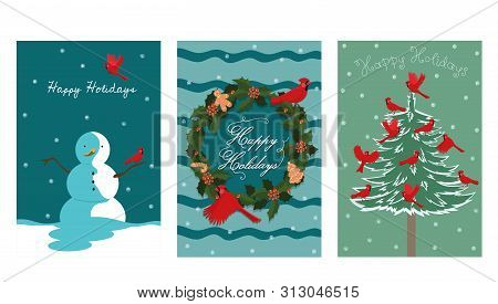 A Collection Of Three New Year Cards With A Bird Red Cardinal. Vector Image