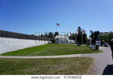 Mackinac Island, Michigan / United States - June 11, 2018: The North Entrance To The Historic Fort M