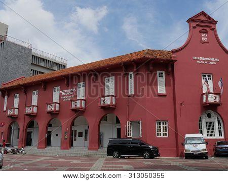 Malacca, Malaysia--february 2018: Close Up Of The Balai Senlukis Melaka Or Melaka Art Gallery At The
