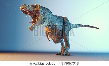 Tyrannosaurus-rex Posing In Studio. 3d Render Illustration