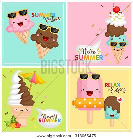 A Card Vector Set Of Various Cute Ice Cream Icon Using Summer Accessories