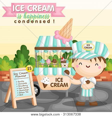 A Vector Set Of Ice Cream Cart And The Seller Boy Scooping A Chocolate Ice Cream