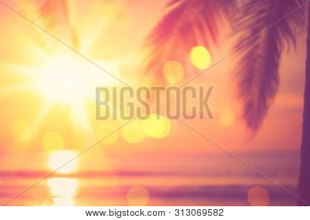 Blur Beautiful Nature Green Palm Leaf On Tropical Beach With Bokeh Sun Light Wave Abstract Backgroun