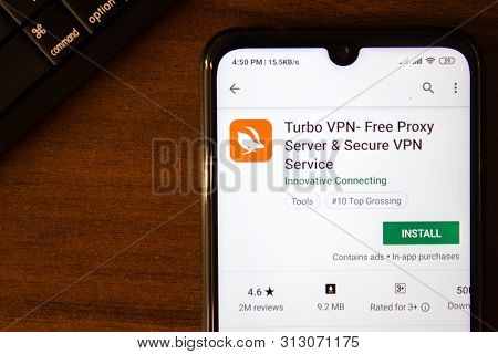 Ivanovsk, Russia - July 07, 2019: Turbo Vpn - Free Proxy Server App On The Display Of Smartphone Or