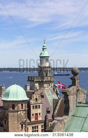Helsingor, Denmark - June 23, 2019:medieval Kronborg Castle On The Oresund Strait, View On Towers An