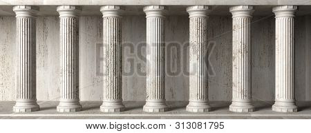 Classical Building Facade, Stone Marble Columns. 3D Illustration