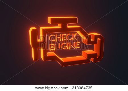 Red Malfunction Or Check Engine Car Light Symbol, Dash Board. Icon Of Auto Spare Parts Lamp On White
