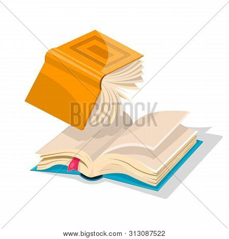 Opened Inverted Yellow Book Falling Down To Blue Another With Bookmark. Copywriting Anr Rewriting Co