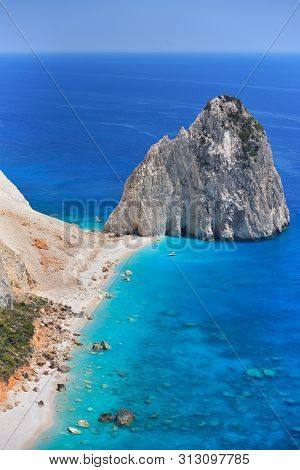 Beautiful Lanscape Of Ionian Sea From Keri, Zakinthos Island, Greece. Vacation Concept Background