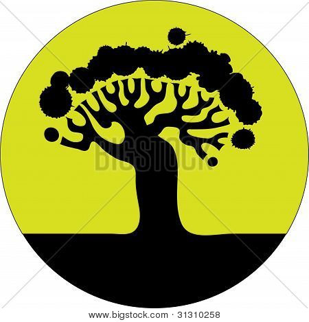 Floral tree silhouette.