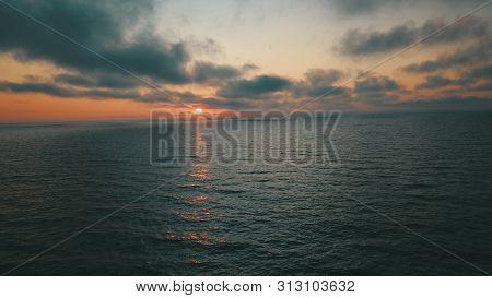 Sunset Near Coastline Baltic Sea Jurkalne Aerial View Latvia