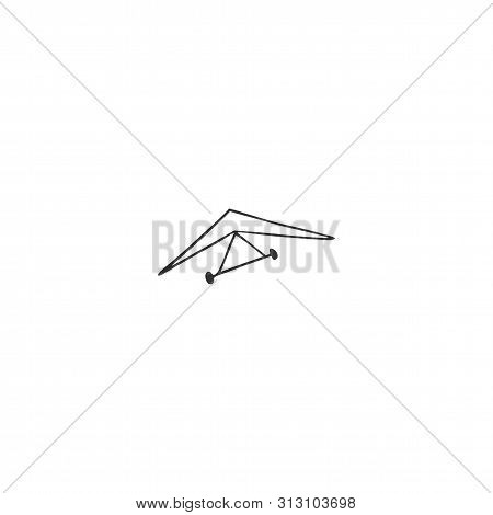 Hand Drawn Vector Isolated Icon. Hang Gliding, Sky Sports Logo Element.