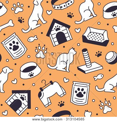 Pet Shop Vector Seamless Pattern With Flat Line Icons Of Dog House, Cat Food, Food Bowl, Puppy Toys,