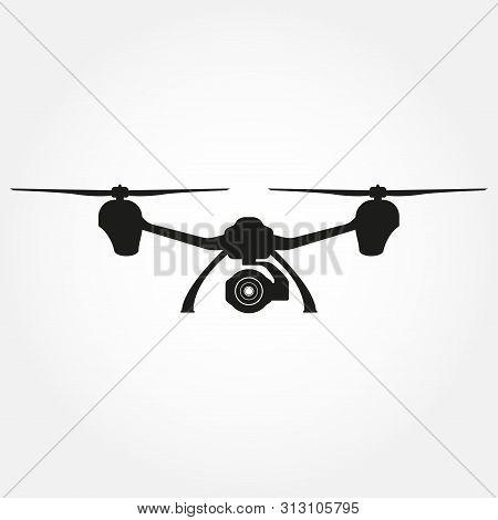 Drone Icon. Quadcopter Black Silhouette With Camera. Vector Illustration.