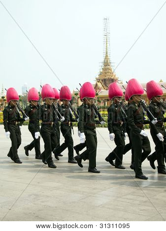 Bangkok - March 25: Soldiers Prepare For The Royal Of Cremation Ceremony