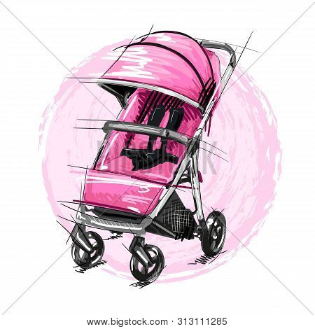Cartoon Baby Stroller Vector Illustration. Girl Perambulator.