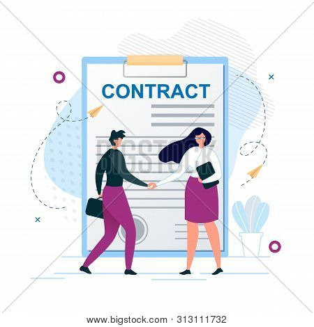 Cartoon Man And Woman Characters Shaking Hands. Agreement To Sign Contract After Successful Business