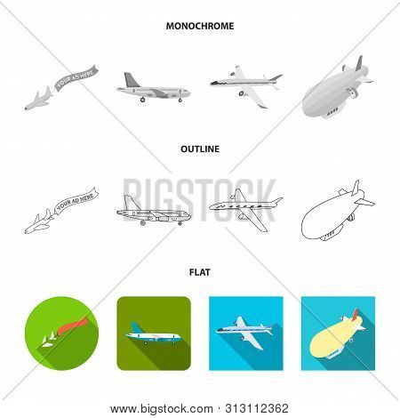 Vector Design Of Transport And Object Symbol. Set Of Transport And Gliding Stock Symbol For Web.