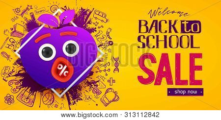 Back To School Sale Apple Symbol With Fun Monster Face, Eyes And Mouth, Hand Drawn Doodle Icons And