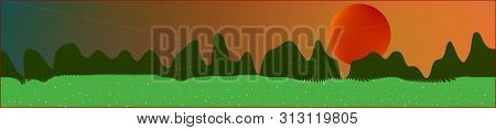 Fancy Sky, And Mountains Landscape. Wide Horizontal Background. Trendy Modern Skinali Design. Pure G