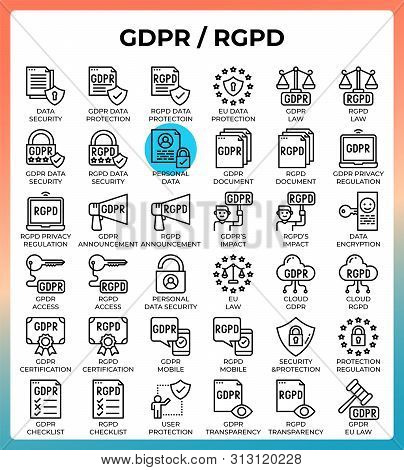 General Data Protection Regulation (gdpr/rgpd) Concept Icons