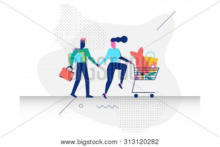 A Couple In Shopping Concept Illustration