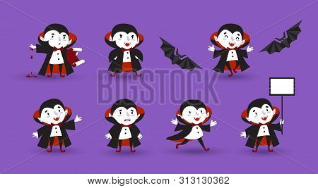 Halloween, Vampire, Ghoul. A Set Of Cute Hand-drawn Characters Is Suitable For A Festive Design, Ava