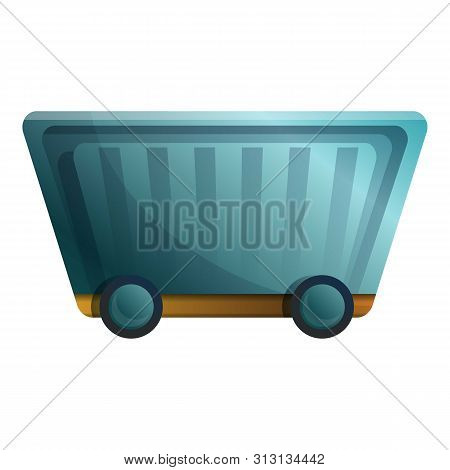 Mineral Wagon Cart Icon. Cartoon Of Mineral Wagon Cart Icon For Web Design Isolated On White Backgro