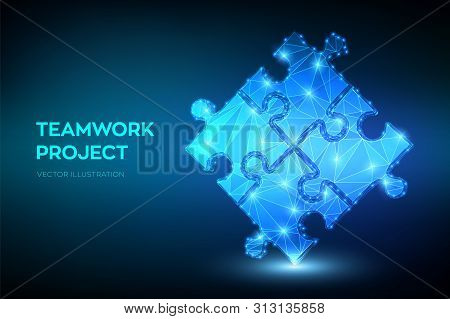 poster of Teamwork. Puzzle elements. Team metaphor. Symbol of teamwork, cooperation, partnership, association and connection. Low polygonal puzzle pieces. Business concept of of connecting. Vector Illustration.