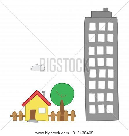 Vector hand-drawn illustration of detached house with garden, tree and tall building. Colored outlines and colored. poster